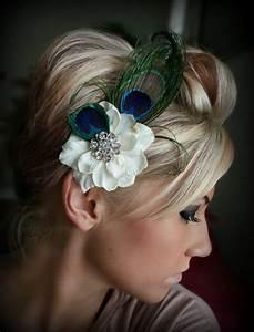 Peacock Feather Floral Hair Clip Wedding Headpiece