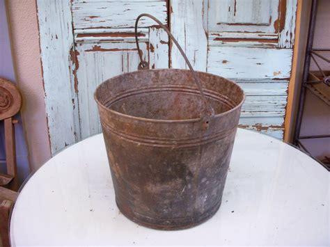Antique Bucket Shabby Vintage Dented Metal Antique