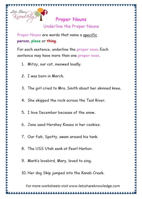 grade 3 grammar topic 7 proper nouns worksheets lets share knowledge