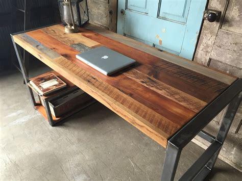 build a wooden desk reclaimed wood patchwork desk gadget flow