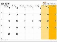 Juli 2019 Kalender mit Feiertagen