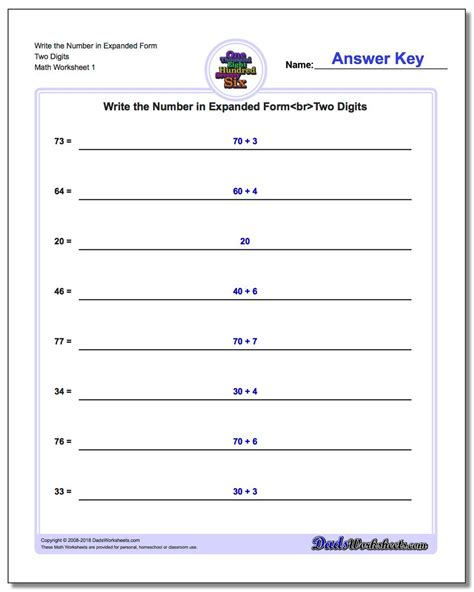 worksheet expanded form worksheets 4th grade worksheet