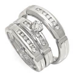 wedding rings sets cheap affordable half carat trio wedding ring set for him and jewelocean