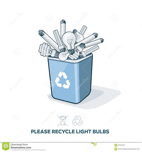 used light bulbs in recycling bin stock vector image