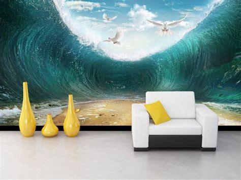 d 233 coration murale tapisserie paysage personnalis 233 papier peint effet 3d les vagues de l oc 233 an