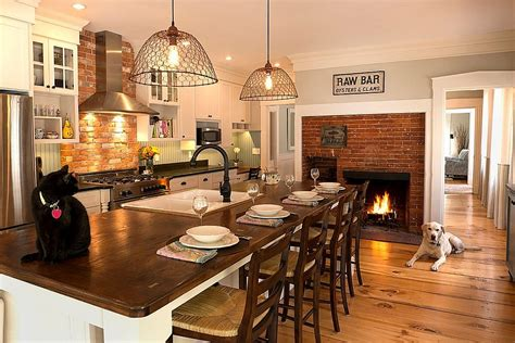 Kitchens Decorating Ideas - hot trends give your kitchen a sizzling makeover with a fireplace