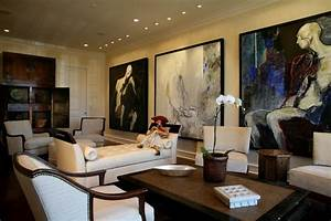 Modern Art Collector's Living Room - Transitional - Living