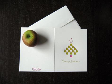 pear tree letterpress holiday card dolce press