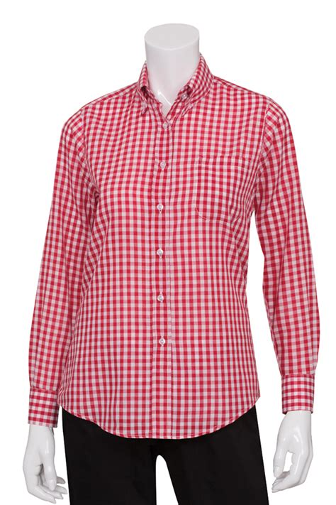 womens red gingham dress shirt chef works