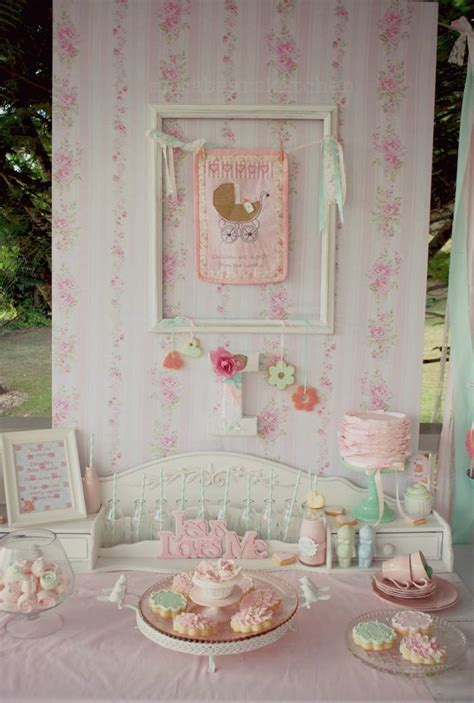 shabby chic baby kara s party ideas shabby chic pink and mint baby shower party planning ideas decor