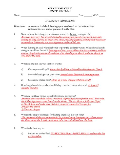 lab safety worksheet answers multiple choice rcnschool