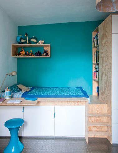 deco chambre espace aménager une chambre ado fille turquoise avec lit en hauteur
