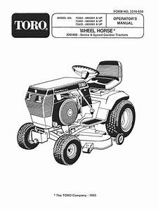 1993 Wheelhorse 312  314  416 Owners Manual For Models