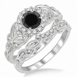 Glamour and cheap black diamond wedding ring sets for for Black wedding rings meaning