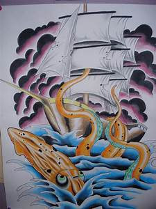 pirate ship w squid painting by charlesbronson777 on ...