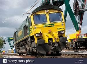 Class 66 Freightliner diesel locomotive in a rail freight ...
