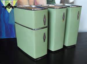 vintage metal kitchen canister sets vintage metal kitchen lidded canister set 4 retro baking