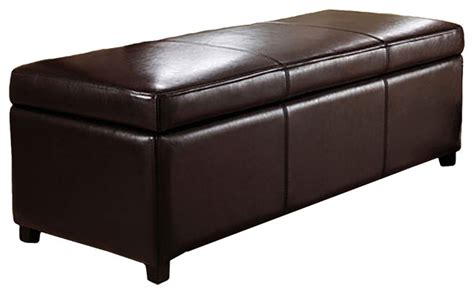 large brown faux leather ottoman avalon large rectangular brown faux leather storage