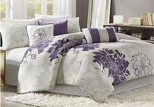 Lola Gray Purple 7 Pc Queen Comforter Set - Queen Linens