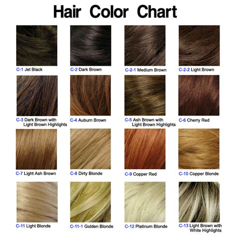 All Hair Colour Shades by Chart Of Hair Colors Hairstyle