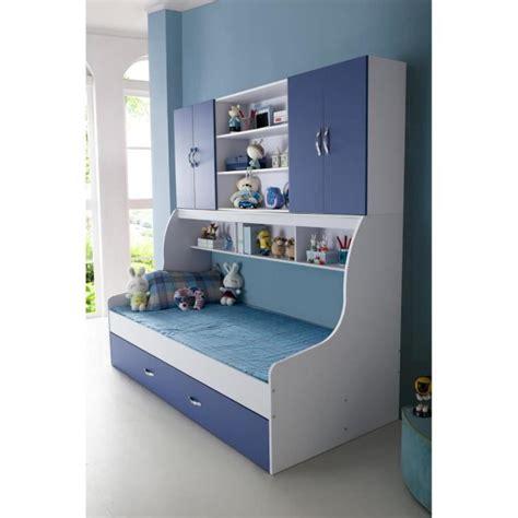 desserte cuisine but lit enfant bleu 90x200 avec tiroir et rangement mural
