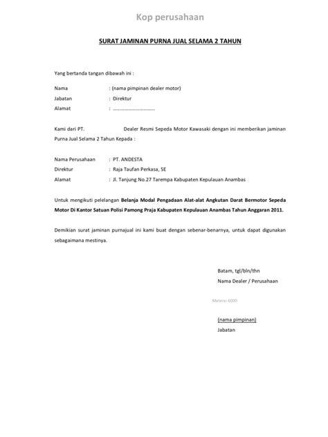 contoh surat jaminan hospital surat