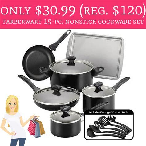 hot   regular  farberware  pc nonstick cookware set deal hunting babe