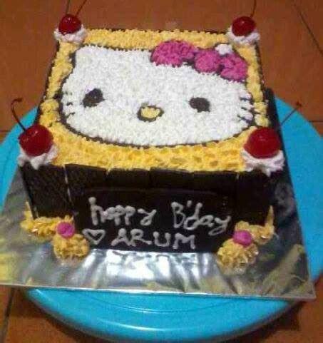 tips  membuat kue tart gambar  kitty
