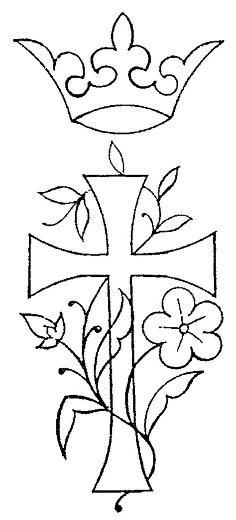 Free Embroidery Pattern: Cross, Crown, Flowers