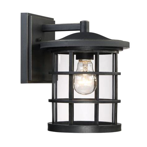 shop quoizel asheville 10 5 in h dark rubbed bronze outdoor wall light at lowes com