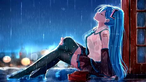 anime hatsune miku rain animated wallpaper animated
