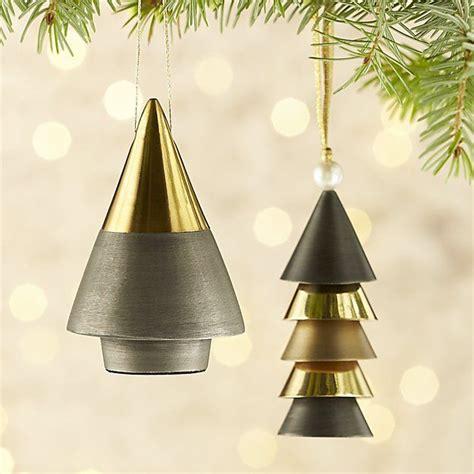 gold metal ornaments crate  barrel christmas