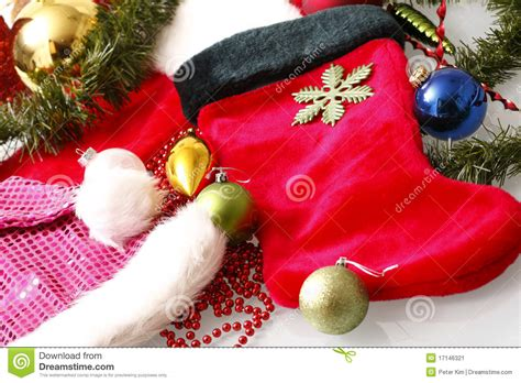 assorted christmas decorations stock image image