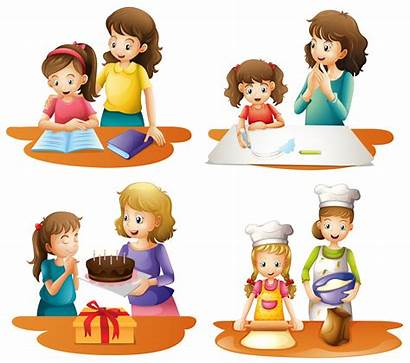 Mother Daughter Activities Four Vector Mom Cooking