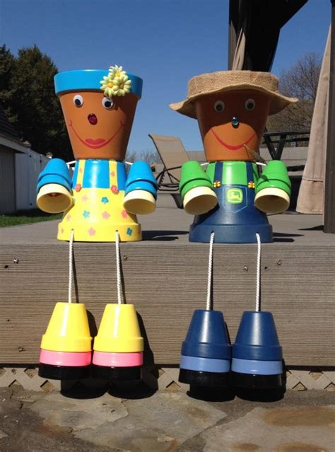 cheap diy clay pot people  cheer   garden