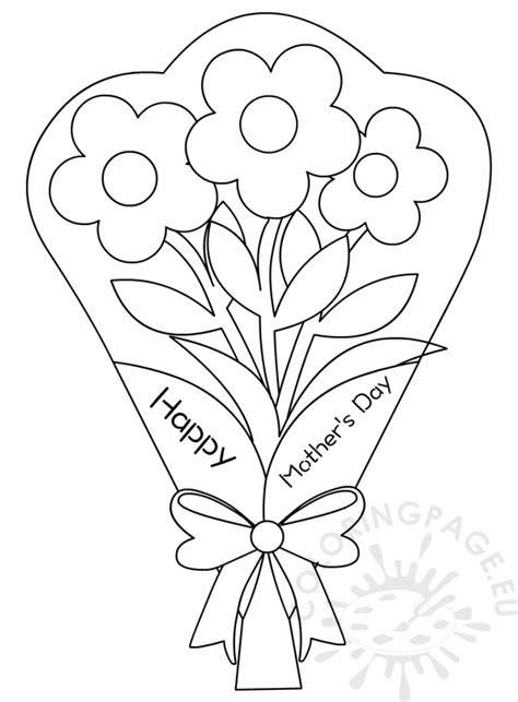 flowers bouquet coloring pages mothers day coloring page