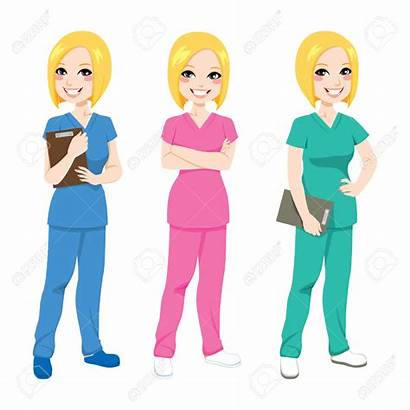 Nurse Scrubs Clipart Blonde Happy Nurses Uniform