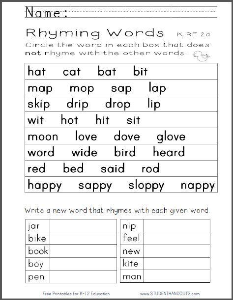 Kindergarten Rhyming Words Worksheet  Free To Print (pdf File) Ccss Krf2a Kindergarten