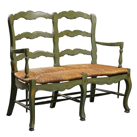 Settee Bench Seat by Antique Green Country Ladderback Settee Called