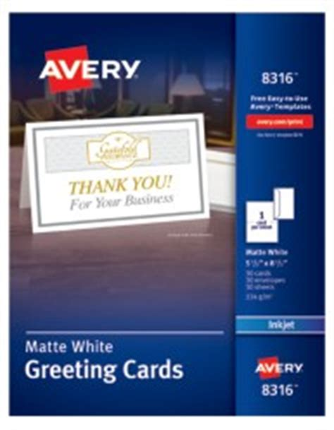 avery printable  fold white matte greeting cards