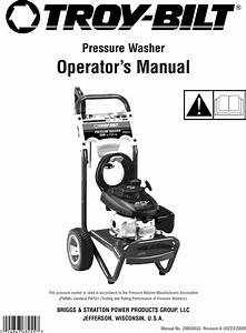 Troybilt 020344 2 User Manual Pressure Washer Manuals And