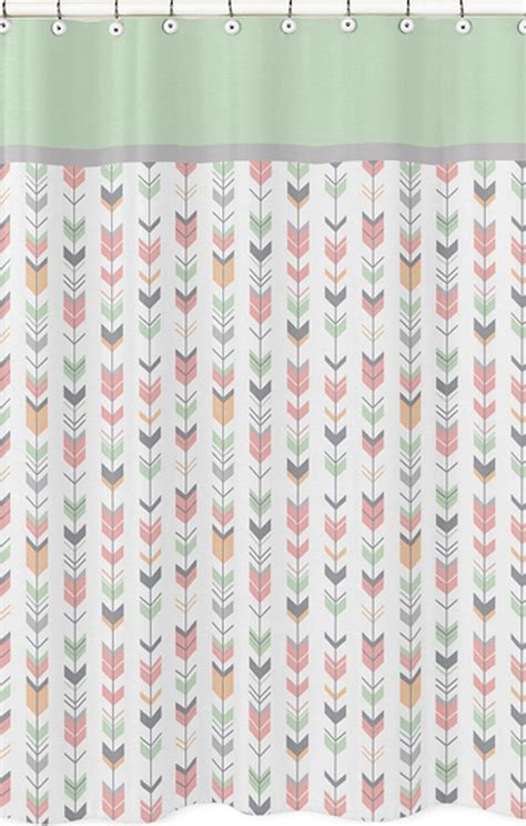mod arrow gray coral mint shower curtain blanket