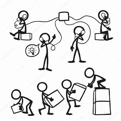 Stick Figures Business Illustration Vector Working Together