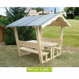 Table Et Banc De Jardin : table pique nique bois avec banc et tonnelle de jardin nice ~ Melissatoandfro.com Idées de Décoration
