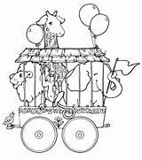 Circus Coloring Train Elephant Giraffe Lion Preschool Theme sketch template