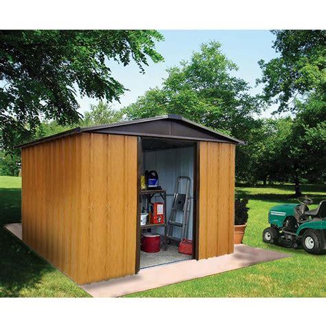 petit abri de jardin m 233 tal aspect bois 4 38 m 178 ep 0 30 mm yardmaster plantes et jardins