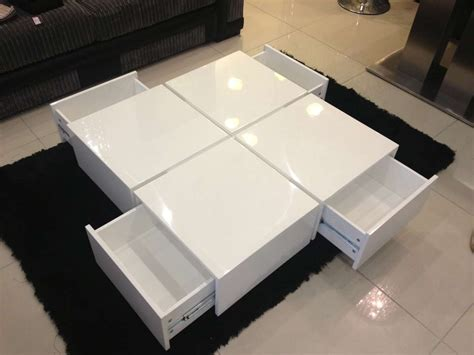 White Table by Wide Designs Of White Coffee Table With Storage Homesfeed
