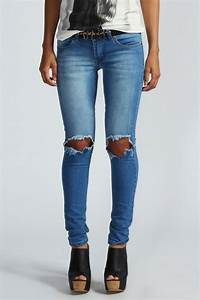 Boohoos Damen Izzy Original Jeans Im Skinny Fit Mit