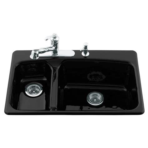 kohler lakefield kitchen sink shop kohler lakefield double basin drop in enameled cast