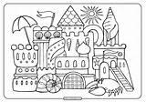 Coloring Adult Printable Sandcastle sketch template